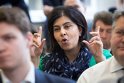 © Licensed to London News Pictures. 25/05/2016. LONDON, UK. BARONESS SAYEEDA WARSI asks a question from the audience at a speech by STEVE HILTON, a former adviser and policy guru to David Cameron, about the European Union (EU), Brexit and Tory modernisation at The Policy Exchange in Westminster. Hilton is in favour of Brexit, believing the Prime Minister is wrong to urge voters to remain in the EU.  Photo credit: Vickie Flores/LNP