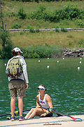 Lucerne, SWITZERLAND, 12th July 2018, Friday  FISA World Cup series, No.3, Lake Rotsee, Lucerne,  Photographer Karon PHILLIPS, Laurel KORHOLZ, Assistant Women's Coach, USRowing Women's Squad, and Single Sculler USA W1X, Kara KOHLER,
