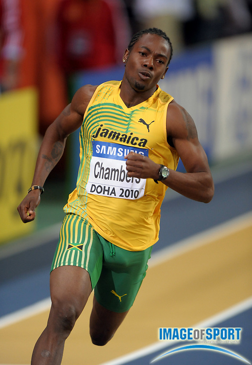 Mar 12, 2010; Doha, QATAR; Ricardo Chambers (JAM) finished third in a 400m heat in 47.06 in the IAAF World Indoor Championships in Athletics at the Aspire Dome.