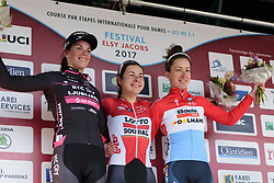 Top three on Stage 2 of Festival Elsy Jacobs 2017: Elise Delzenne, Eugenia Bujak & Christine Majerus. A 111.1 km road race on April 30th 2017, starting and finishing in Garnich, Luxembourg. (Photo by Sean Robinson/Velofocus)