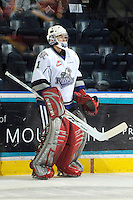 KELOWNA, CANADA, OCTOBER 22:  Jared Rathjen #1 of the Victoria Royals stands on the ice during warm up as the Victoria Royals visited the Kelowna Rockets on October 22, 2011 at Prospera Place in Kelowna, British Columbia, Canada (Photo by Marissa Baecker/shootthebreeze.ca) *** Local Caption *** Jared Rathjen;