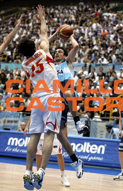 DESCRIZIONE : Saitama Giappone Japan Men World Championship 2006 Campionati Mondiali Semifinal Spain-Argentina <br /> GIOCATORE : Ginobili<br /> SQUADRA : Argentina <br /> EVENTO : Saitama Giappone Japan Men World Championship 2006 Campionato Mondiale Semifinal Spain-Argentina <br /> GARA : Spain Argentina Spagna Argentina <br /> DATA : 01/09/2006 <br /> CATEGORIA : Tiro<br /> SPORT : Pallacanestro <br /> AUTORE : Agenzia Ciamillo-Castoria/H.Bellenger <br /> Galleria : Japan World Championship 2006<br /> Fotonotizia : Saitama Giappone Japan Men World Championship 2006 Campionati Mondiali Semifinal Spain-Argentina <br /> Predefinita :