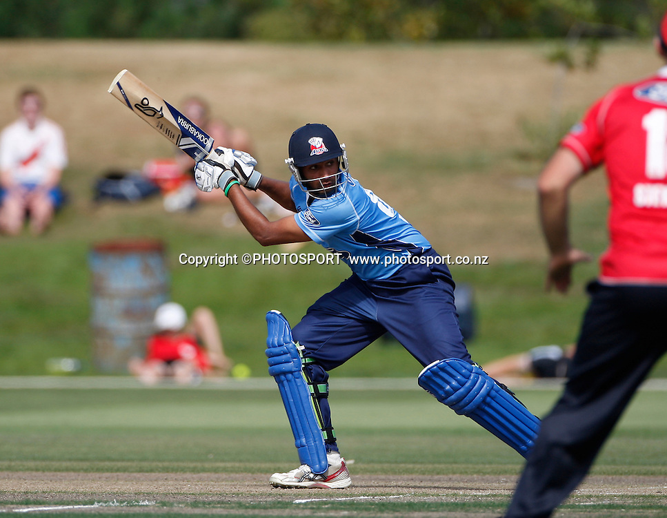 Auckland batsman Jeet Raval during his innings. Canterbury Wizards v Auckland Aces in the One Day Competition, Preliminary Semi Final. QEII Park, Christchurch, New Zealand. Sunday, 06 February 2011. Joseph Johnson / PHOTOSPORT.