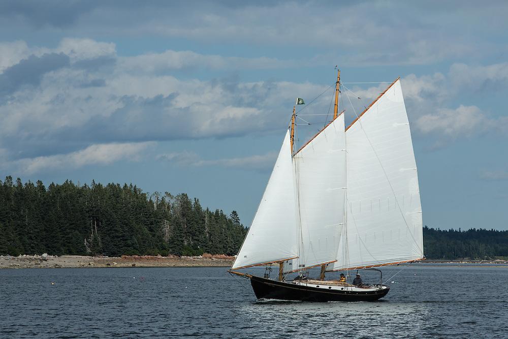 Eggemoggin Reach, ME - 9 August 2014. A schooner sailing off of Torrey Island, Egggemoggin Reach, neaer Center Harbor.