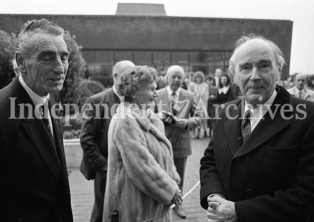 President Dr Patrick Hillery leaving Moneypoint Power Station after his last Official Duty as President, Clare, 02/12/1990 (Part of the Independent Newspapers Ireland/NLI Collection).
