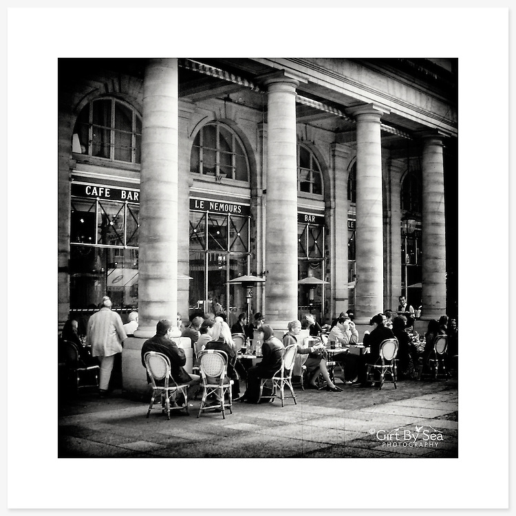 Caf&eacute; Le Nemours, Paris - Monochrome version. Inkjet pigment print on Canson Infinity Rag Photographique 310gsm 100% cotton museum grade Fine Art and photo paper.<br />