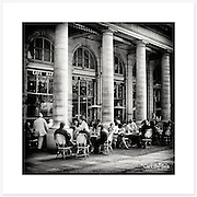 Caf&eacute; Le Nemours, Paris - Monochrome version. Inkjet pigment print on Canson Infinity Rag Photographique 310gsm 100% cotton museum grade Fine Art and photo paper.<br /> <br /> 8x8&quot; Prints: First print $49. Additional prints in same order $29. (A half inch white border is added for safe handling. Size with border 9x9&rdquo;).<br /> <br /> Frame-Ready Prints: Add $29 per print. Includes mounting on 12x12&rdquo; foam-board, plus white matboard with 8x8&rdquo; photo opening. Suits standard 12x12&rdquo; frames.<br /> <br /> Price includes GST &amp; postage within Australia. <br /> <br /> Order by email to orders@girtbyseaphotography.com  quoting image title or reference number, your contact details, delivery address &amp; preferred payment method (PayPal or Bank Deposit). You will be invoiced by return email. Normally ships within 7 days of payment.