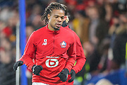 Lille forward Loïc Rémy (9) warms up prior to the Champions League match between Chelsea and Lille OSC at Stamford Bridge, London, England on 10 December 2019.