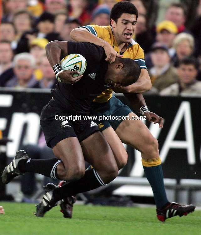 Joe Rokocoko during the Bledisloe Cup match between the All Blacks and the Wallabies at Telstra Stadium, Sydney, Australia on Saturday 13 August, 2005. The All Blacks won the match 30 - 13. Photo: Hannah Johnston/PHOTOSPORT<br />