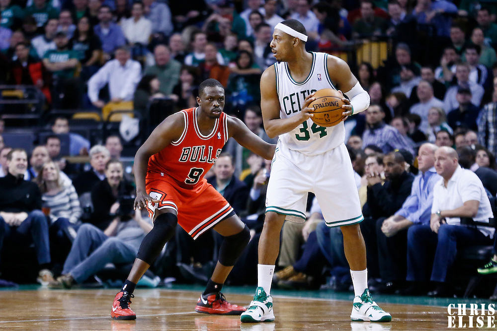 13 February 2013: Chicago Bulls small forward Luol Deng (9) defends on Boston Celtics small forward Paul Pierce (34) during the Boston Celtics 71-69 victory over the Chicago Bulls at the TD Garden, Boston, Massachusetts, USA.