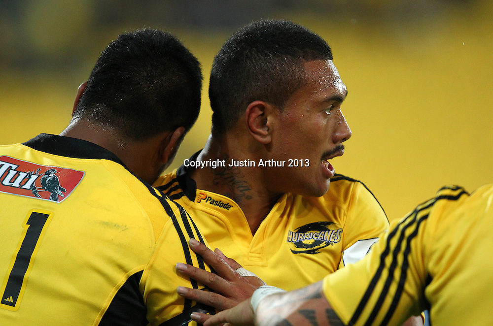 Hurricans' Ardie Savea and Hurricans' Julian Savea celebrate a try during the 2013 Super Rugby season - Hurricanes v Waratahs, Westpac Stadium, Wellington, New Zealand on Saturday 6 April 2013. Photo: Justin Arthur / photosport.co.nz