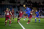 Peterborough United forward Ivan Toney (17) with this header that went wide during the EFL Sky Bet League 1 match between Peterborough United and Bradford City at The Abax Stadium, Peterborough, England on 17 November 2018.