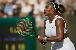 LONDON, ENGLAND - Thursday, July 4, 2019: Serena Williams (USA) during the Ladies' Singles second round match on Day Four of The Championships Wimbledon 2019 at the All England Lawn Tennis and Croquet Club. Williams won 6-2, 2-6, 6-4. (Pic by Kirsten Holst/Propaganda)
