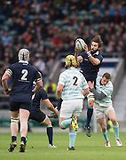 Twickenham, United Kingdom. Oxford's Matt JANNEY catches the high ball during the 2015 Men's Varsity Match, Oxford vs Cambridge, RFU Twickenham Stadium, England.<br /> <br /> Thursday  10/12/2015<br /> <br /> [Mandatory Credit. Peter SPURRIER/Intersport Images].