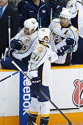 January 8, 2011; San Jose, CA, USA;  Nashville Predators center David Legwand (11) celebrates with teammates after scoring a goal against the San Jose Sharks during the first period at HP Pavilion. Mandatory Credit: Jason O. Watson / US PRESSWIRE