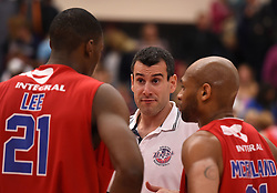 Andreas Kapoulas head coach of Bristol Flyers speaks with Tyrone Lee of Bristol Flyers and Cardell McFarland of Bristol Flyers  - Photo mandatory by-line: Joe Meredith/JMP - Mobile: 07966 386802 - 10/10/2015 - BASKETBALL - SGS Wise Arena - Bristol, England - Bristol Flyers v Newcastle Eagles - British Basketball League