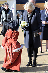 Duchess of Cornwall receives a posy as she arrives at the Mary Rose Museum in Portsmouth, United Kingdom, Wednesday, 26th February 2014. Picture by Stephen Lock / i-Images