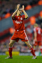 LIVERPOOL, ENGLAND - Saturday, January 26, 2008: Liverpool's hat-trick hero Yossi Benayoun applauds the fans as he is substituted against Havant and Waterlooville during the FA Cup 4th Round match at Anfield. (Photo by David Rawcliffe/Propaganda)