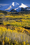 Aspen trees burst with fall color below the snowy peaks of the La Sal Mountains in Manti-La Sal National Forest, Utah.