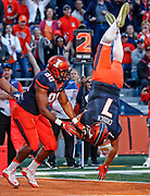 CHAMPAIGN, IL - OCTOBER 08: Chayce Crouch #7 of the Illinois Fighting Illini scores a touchdown against the Purdue Boilermakers at Memorial Stadium on October 8, 2016 in Champaign, Illinois. (Photo by Michael Hickey/Getty Images) *** Local Caption *** Chayce Crouch