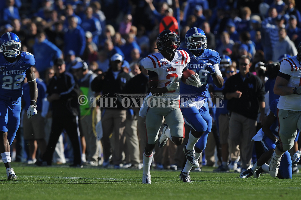 Ole Miss' Nickolas Brassell (2) runs 56 yards on a reverse in the first quarter vs. Kentucky at Commonwealth Stadium in Lexington, Ky. on Saturday, November 5, 2011. ..