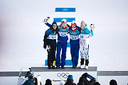PYEONGCHANG-GUN, SOUTH KOREA - FEBRUARY 15: Charlotte Kalla of Sweden, Ragnhild Haga of Norway, Marit Bjoergen of Norway and Krista Parmakoski of Finland during the women's 10k free technique Cross Country competition at Alpensia Cross-Country Centre on February 15, 2018 in Pyeongchang-gun, South Korea. Photo by Nils Petter Nilsson/Ombrello               ***BETALBILD***