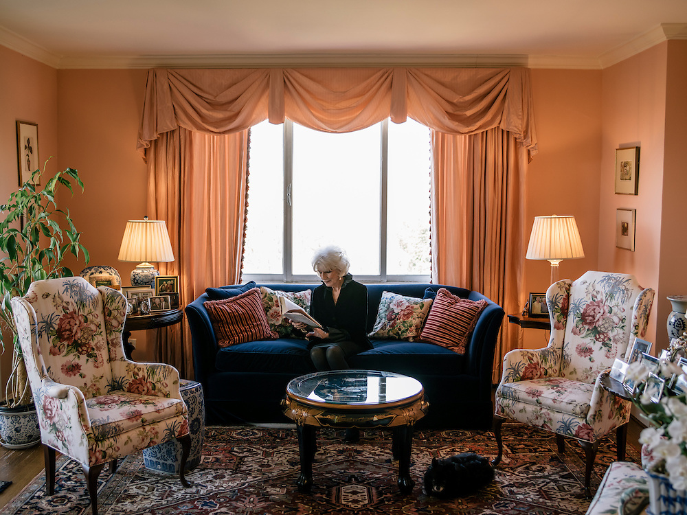 Diane Rehm reads at home on the 14th floor of a condominium complex in the Glover Park area of Washington, D.C.