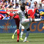Jozy Altidore, (right), USA,  wins the ball while challenged by Nuri Sahin, Turkey, during the US Men's National Team Vs Turkey friendly match at Red Bull Arena.  The game was part of the USA teams three-game send-off series in preparation for the 2014 FIFA World Cup in Brazil. Red Bull Arena, Harrison, New Jersey. USA. 1st June 2014. Photo Tim Clayton
