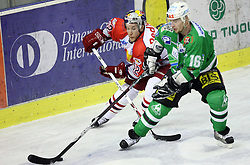 Robert Lukas of Salzburg and Ales Music of Olimpija at ice hockey match ZM Olimpija vs EC Red Bull Salzburg in second round of final of Ebel League (Erste Bank Eishockey Liga),  on March 16, 2008 in Arena Tivoli, Ljubljana, Slovenia. Salzburg won the game 3:1 and  leveled the series 1:1. Pho. (Photo by Vid Ponikvar / Sportal Images)