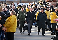 November 12, 2011: Iowa Hawkeyes head coach Kirk Ferentz walks into the stadium before the start of the NCAA football game between the Michigan State Spartans and the Iowa Hawkeyes at Kinnick Stadium in Iowa City, Iowa on Saturday, November 12, 2011. Michigan State defeated Iowa 37-21.