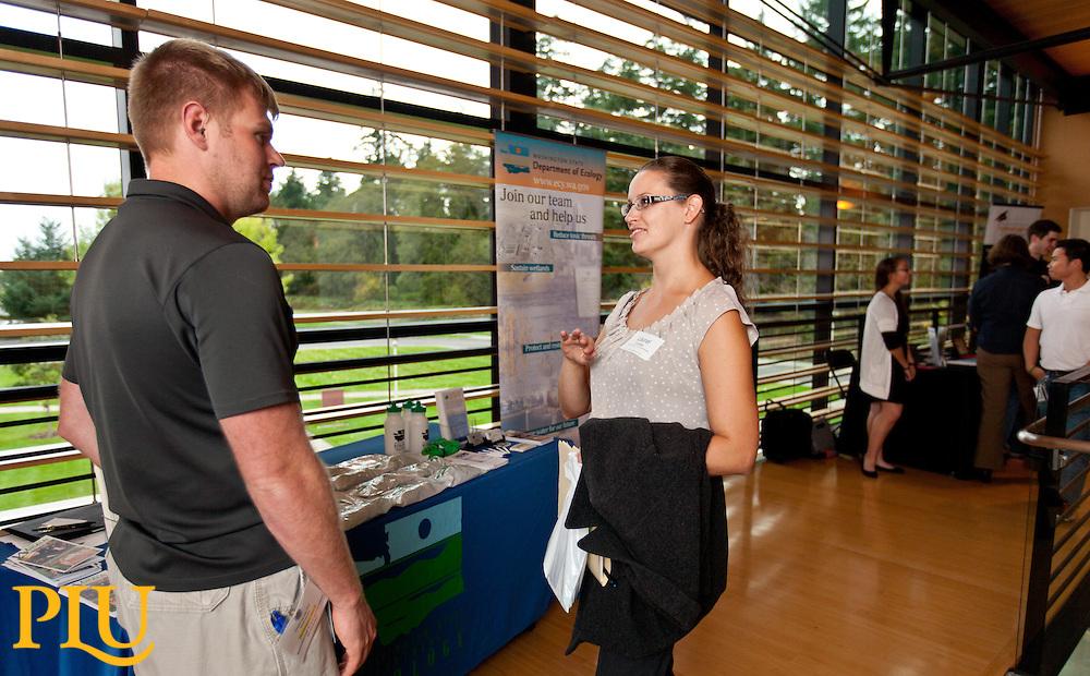 STEM career fair in Morken at PLU on Monday, Oct. 12, 2015. (Photo/John Froschauer)