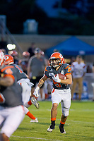 KELOWNA, BC - AUGUST 3:  Javen Kaechele #84 of Okanagan Sun runs with the ball against the Kamloops Broncos  at the Apple Bowl on August 3, 2019 in Kelowna, Canada. (Photo by Marissa Baecker/Shoot the Breeze)