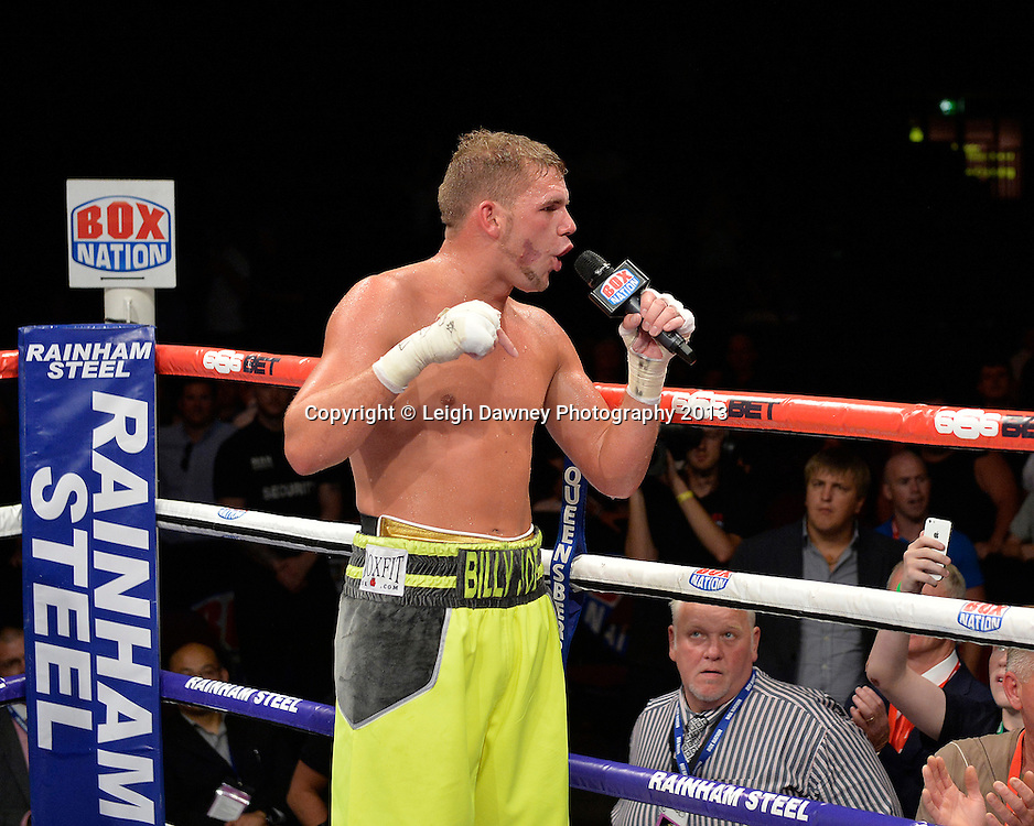 Billy Joe Saunders call out for Chris Eubank Jnr to fight him after defeating Emanuele Blandamura for the European Middleweight Title on 26th July 2014 at the Phones 4U Arena, Manchester. Promoted by Frank Warren. © Credit: Leigh Dawney Photography.