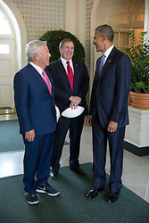 President Barack Obama talks with New England Patriots owner Robert Kraft, left, and Coach Bill Belichick in the West Garden Room of the White House prior to an event to honor the team and their Super Bowl XLIX victory, on the South Lawn of the White House, April 23, 2015. (Official White House Photo by Pete Souza)<br /> <br /> This official White House photograph is being made available only for publication by news organizations and/or for personal use printing by the subject(s) of the photograph. The photograph may not be manipulated in any way and may not be used in commercial or political materials, advertisements, emails, products, promotions that in any way suggests approval or endorsement of the President, the First Family, or the White House.