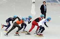 15-02-2014 SHORTTRACK: OLYMPIC GAMES: SOTSJI<br /> Sjinkie Knegt wordt derde in de finale van de 1000 meter. Vladimir Grigorev (252) en Victor An (250) van Rusland woorden tweede en eerste.<br /> ©2014-FotoHoogendoorn.nl