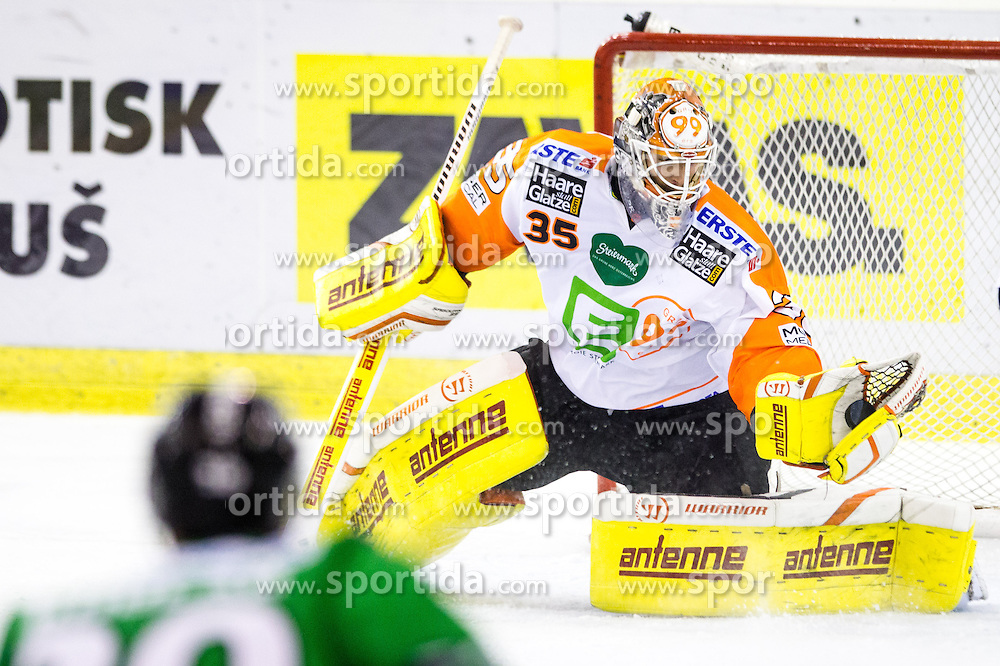 31.10.2014, Hala Tivoli, Ljubljana, SLO, EBEL, HDD Telemach Olimpija Ljubljana vs Moser Medical Graz 99ers, 15. Runde, in picture Danny Sabourin (Moser Medical Graz 99ers, #35) during the Erste Bank Icehockey League 15. Round between HDD Telemach Olimpija Ljubljana and  Moser Medical Graz 99ers at the Hala Tivoli, Ljubljana, Slovenia on 2014/10/31. Photo by Matic Klansek Velej / Sportida