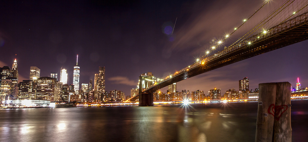 The Brooklyn Bridge and the Manhattan skyline from Brooklyn                                       <br />