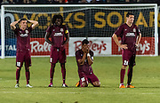 The Sac Republic FC react to losing 5-4 during penalty kicks of the USL Western Conference first round playoff game between the Republic FC and the visiting Orange County Blues FC at Bonney Field, Saturday Oct 1, 2016. The Orange County Blues FC won 5-4 after penalty kicks<br /> photo by Brian Baer