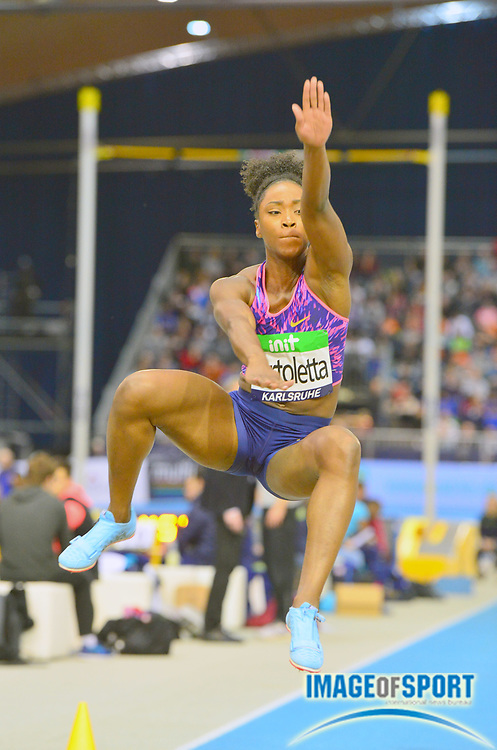Tianna Bartoletta (USA) places eighth in the women's long jump at 20-2½ (6.16m) inthe 34th Indoor Meeting Karlsruhen in an IAAF World Tour competition at the Messe Karlsruhe on Saturday, Feb. 3, 2018 in Karlsruhe, Germany. (Jiro Mochizuki/Image of Sport)