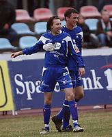 Fotball   22  april  2007  - Adeccoligaen<br /> Hønefoss Idrettspark    <br /> <br /> Hønefoss  BK v  FK Haugesund   1-1<br /> <br /> Foto: Dagfinn Limoseth, Digitalsport <br /> <br /> Bjørn Strøm , Haugesund jubler etter sitt mål.<br /> Cameron Weaver gratulerer