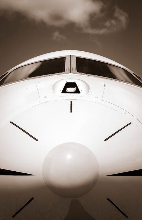 Nose radome of a Bombardier Global Express jet at Kalamazoo International Airport in Kalamazoo, Michigan.