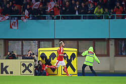 VIENNA, AUSTRIA - Thursday, October 6, 2016: Austria's Marko Arnautovic celebrates scoring the first equalising goal against Wales during the 2018 FIFA World Cup Qualifying Group D match at the Ernst-Happel-Stadion. (Pic by David Rawcliffe/Propaganda)