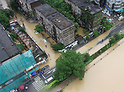 FUZHOU, CHINA - SEPTEMBER 15: <br /> <br /> Aerial view of the flooded roads after Typhoon Meranti on September 15, 2016 in Fuzhou, Fujian Province of China. Typhoon Meranti made landfall in Xiamen at 3:05 a.m on Thursday and caused damage in Fujian. <br /> ©Exclusivepix Media