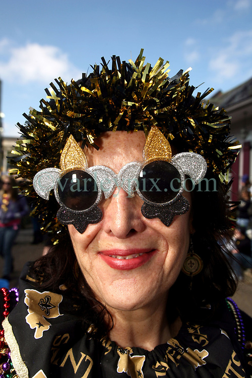 07 February 2010. New Orleans, Louisiana, USA. <br /> Super Bowl XL1V. <br /> Rose Preston. New Orleans Saints fans gather in the French Quarter in anticipation of the big game in Miami later in the day as the home team goes head to head with the Indianapolis Colts for Super Bowl 44. <br /> Photo ©; Charlie Varley/varleypix.com
