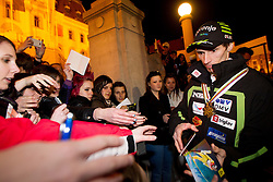 Robert Kranjec with fans during reception of Slovenian Ski jumping team after they get bronze team medal and R. Kranjec became World Champion at FIS Ski Flying World Championships 2012 in Vikersund, Norway, on February 28, 2012 in Kongresni try, Ljubljana, Slovenia.  (Photo By Vid Ponikvar / Sportida.com)