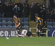 Ben Gordon ((4) celebrates after scoring Alloa Athletic's 93rd minute equaliser - Dundee v Alloa Athletic, SPFL Championship at Dens Park<br /> <br />  - &copy; David Young - www.davidyoungphoto.co.uk - email: davidyoungphoto@gmail.com