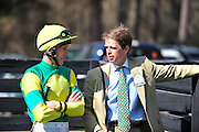 27 March 2010 : Bernie Dalton and trainer Arch Kingsley talk in the paddock before the Gr. II Carolina Cup steeplechase race.