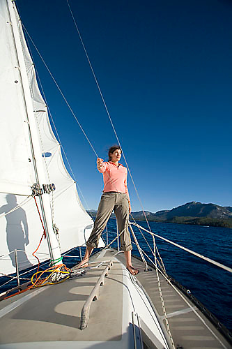 Melanie Tavesieffe sailing on Lake Tahoe, CA.