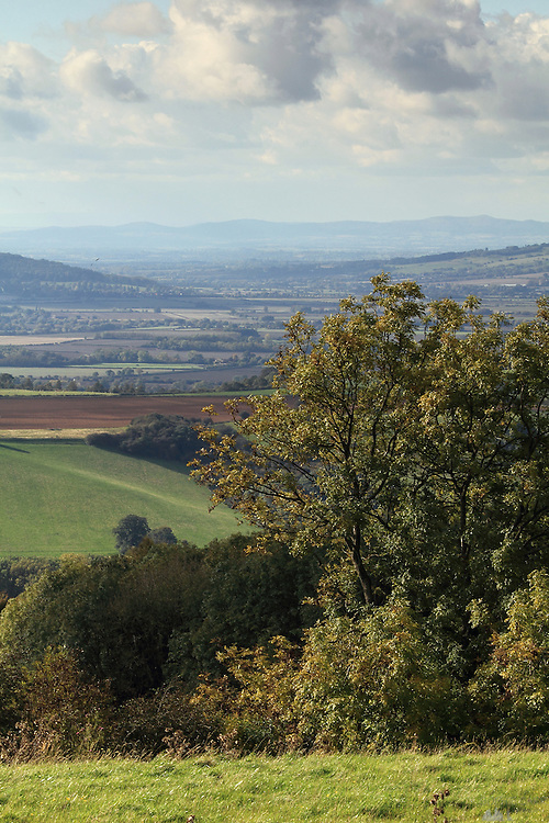 Views around Broadway Tower, a National Trust property in the Cotswolds, above the village of Broadway in Worcestershire