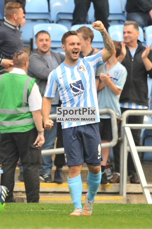 Coventrys Adam Armstrong Celebrates His Goal Coventry City v Chesterfield, Football League One, Ricoh Arena Coventry Saturday 19th September 2015